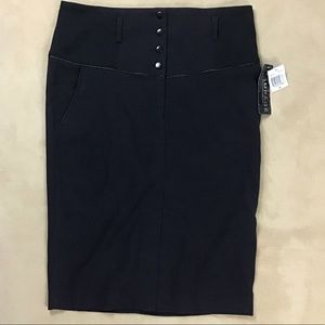 Rampage Black Polka Dot fitted Pencil Skirt sz 13